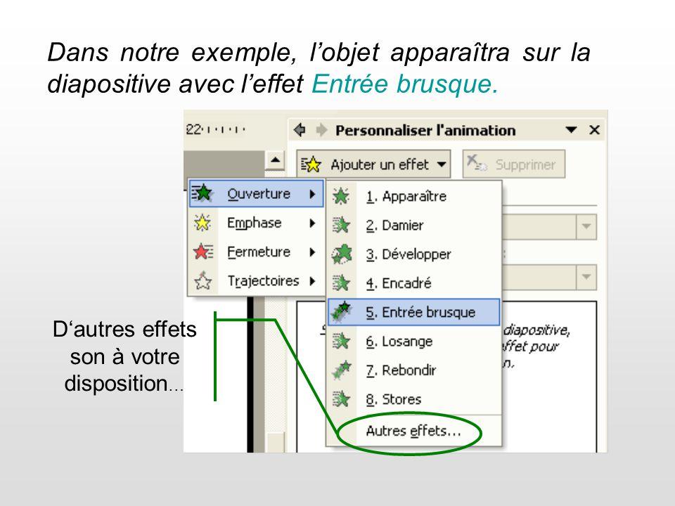 Supprimer un effet (ne supprime pas lobjet, celui-ci apparaîtra donc normalement à louverture de la diapositive.) Sélectionnez lanimation à modifier dans la liste pour avoir accès au bouton Modifier.