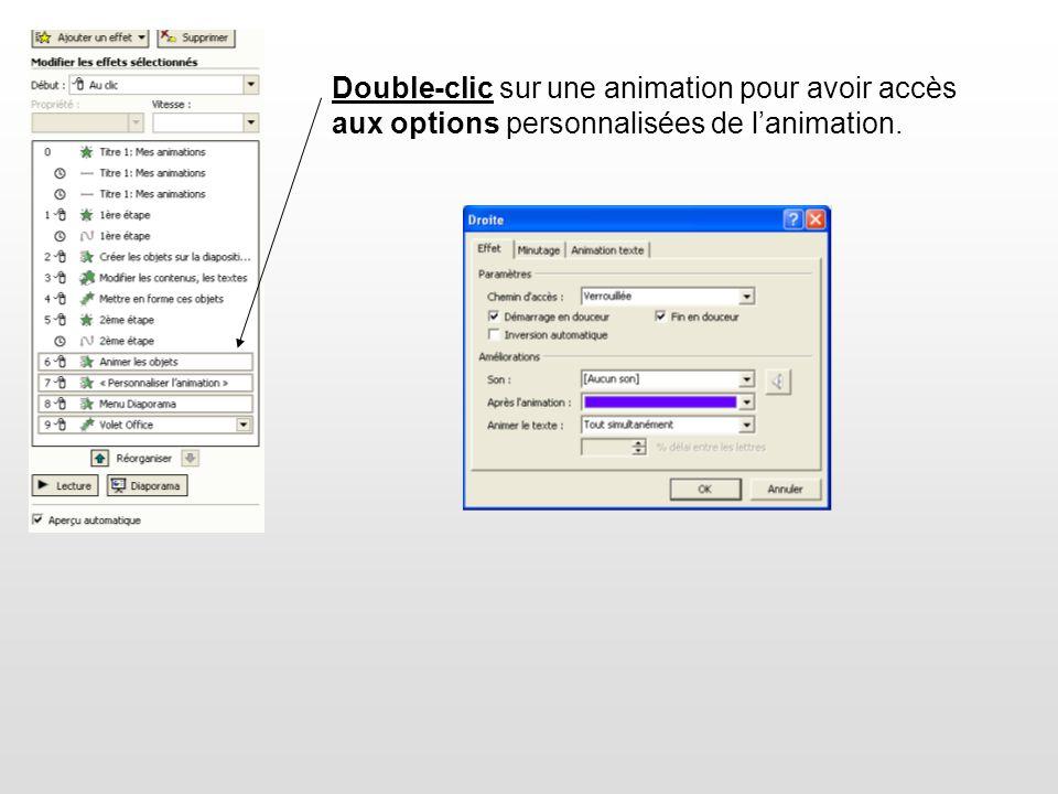 Double-clic sur une animation pour avoir accès aux options personnalisées de lanimation.