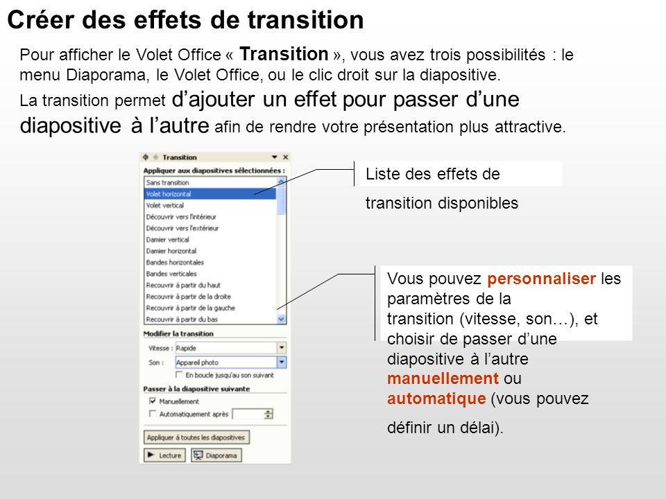 Liste des effets de transition disponibles Vous pouvez personnaliser les paramètres de la transition (vitesse, son…), et choisir de passer dune diapos