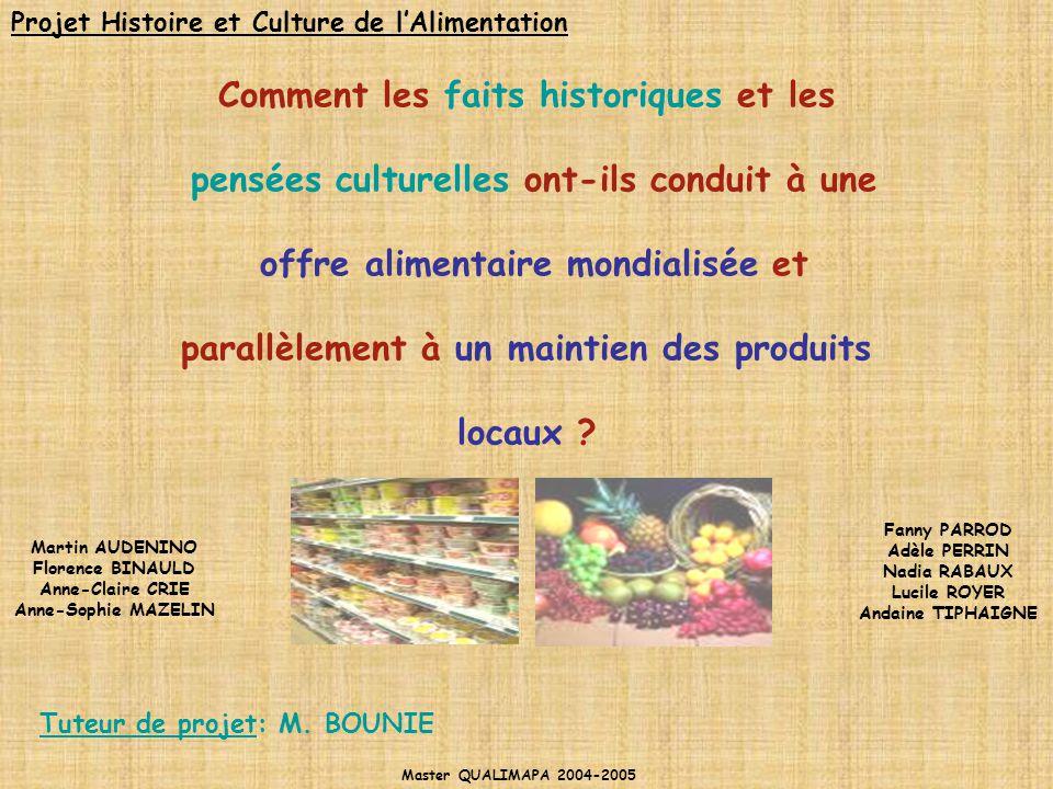 Comment les faits historiques et les pensées culturelles ont-ils conduit à une offre alimentaire mondialisée et parallèlement à un maintien des produi