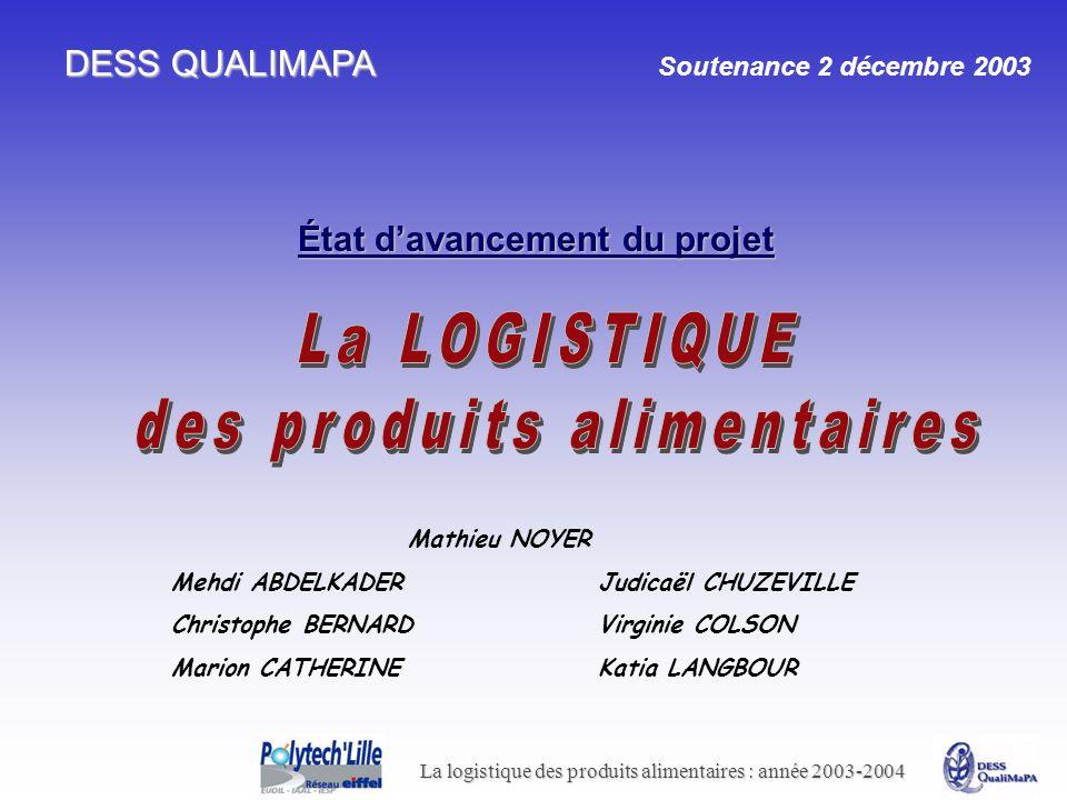 La logistique des produits alimentaires : année 2003-2004 DESS QUALIMAPA DESS QUALIMAPA Soutenance 2 décembre 2003 État davancement du projet Mathieu