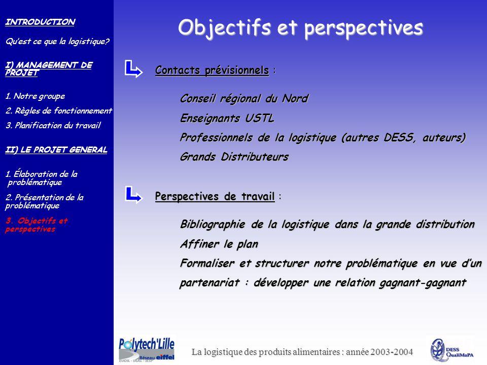 La logistique des produits alimentaires : année 2003-2004 Objectifs et perspectives INTRODUCTION Quest ce que la logistique? I) MANAGEMENT DE PROJET 1