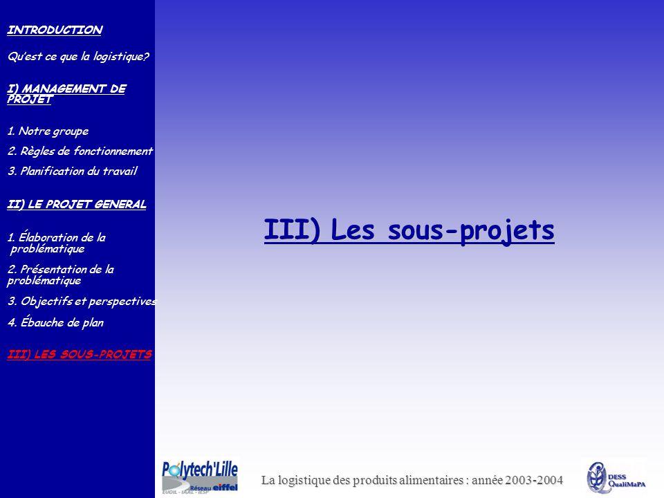 La logistique des produits alimentaires : année 2003-2004 III) Les sous-projets INTRODUCTION Quest ce que la logistique? I) MANAGEMENT DE PROJET 1. No