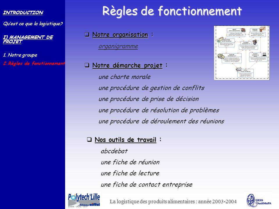 La logistique des produits alimentaires : année 2003-2004 Règles de fonctionnement INTRODUCTION Quest ce que la logistique? I) MANAGEMENT DE PROJET 1.