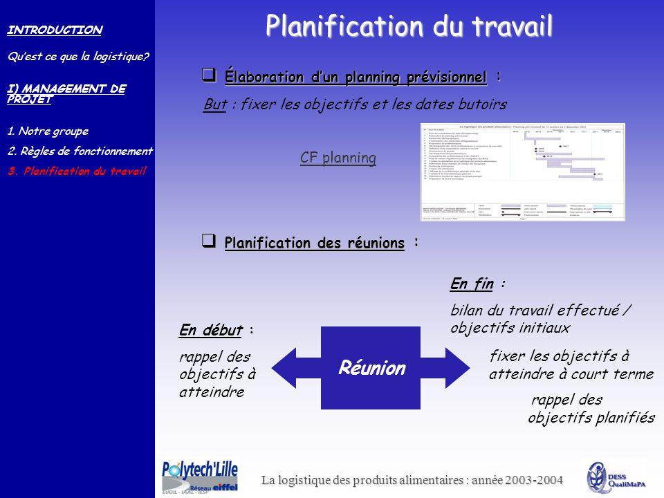 La logistique des produits alimentaires : année 2003-2004 Planification du travail INTRODUCTION Quest ce que la logistique? I) MANAGEMENT DE PROJET 1.