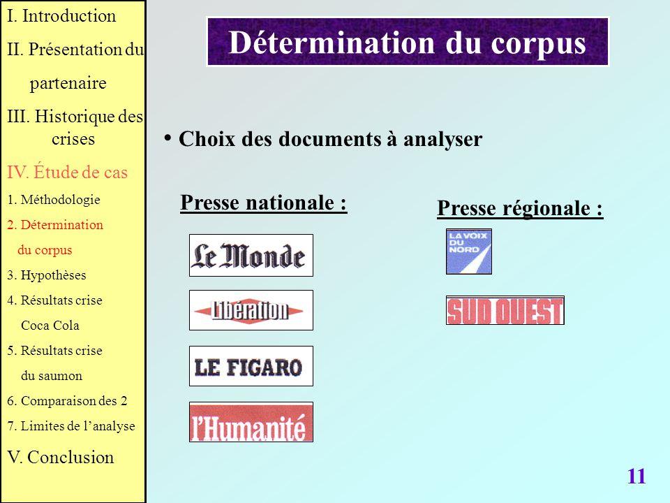 Détermination du corpus 11 Choix des documents à analyser I. Introduction II. Présentation du partenaire III. Historique des crises IV. Étude de cas 1