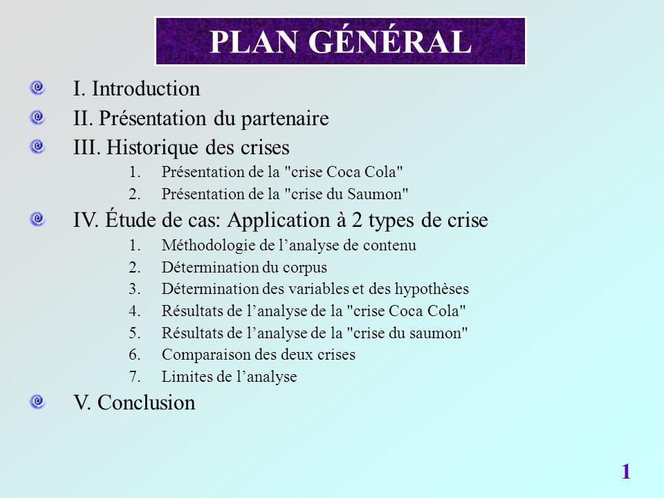 PLAN GÉNÉRAL 1 I. Introduction II. Présentation du partenaire III. Historique des crises 1.Présentation de la