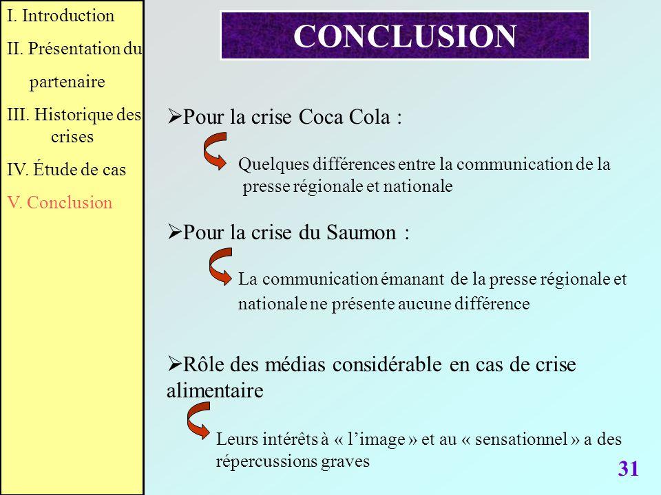 31 CONCLUSION Rôle des médias considérable en cas de crise alimentaire Pour la crise Coca Cola : Quelques différences entre la communication de la pre