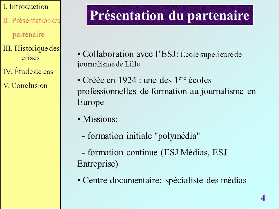 Présentation du partenaire 4 Collaboration avec lESJ: École supérieure de journalisme de Lille Créée en 1924 : une des 1 ère écoles professionnelles d