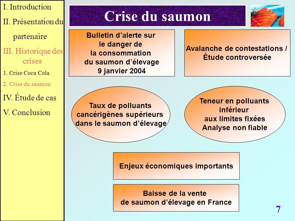 7 Crise du saumon Bulletin dalerte sur le danger de la consommation du saumon délevage 9 janvier 2004 Avalanche de contestations / Étude controversée
