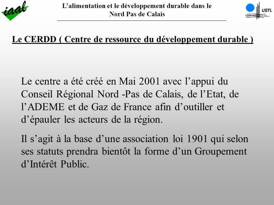 Lalimentation et le développement durable dans le Nord Pas de Calais Le CERDD ( Centre de ressource du développement durable ) Le centre a été créé en Mai 2001 avec lappui du Conseil Régional Nord -Pas de Calais, de lEtat, de lADEME et de Gaz de France afin doutiller et dépauler les acteurs de la région.