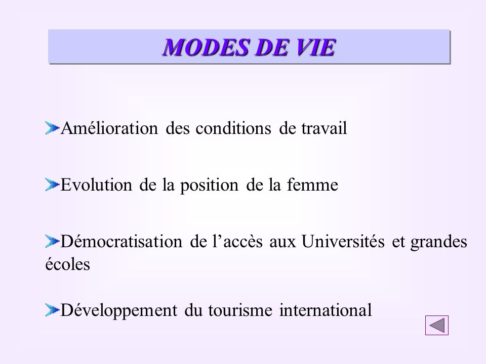 MODES DE VIE Amélioration des conditions de travail Evolution de la position de la femme Démocratisation de laccès aux Universités et grandes écoles D