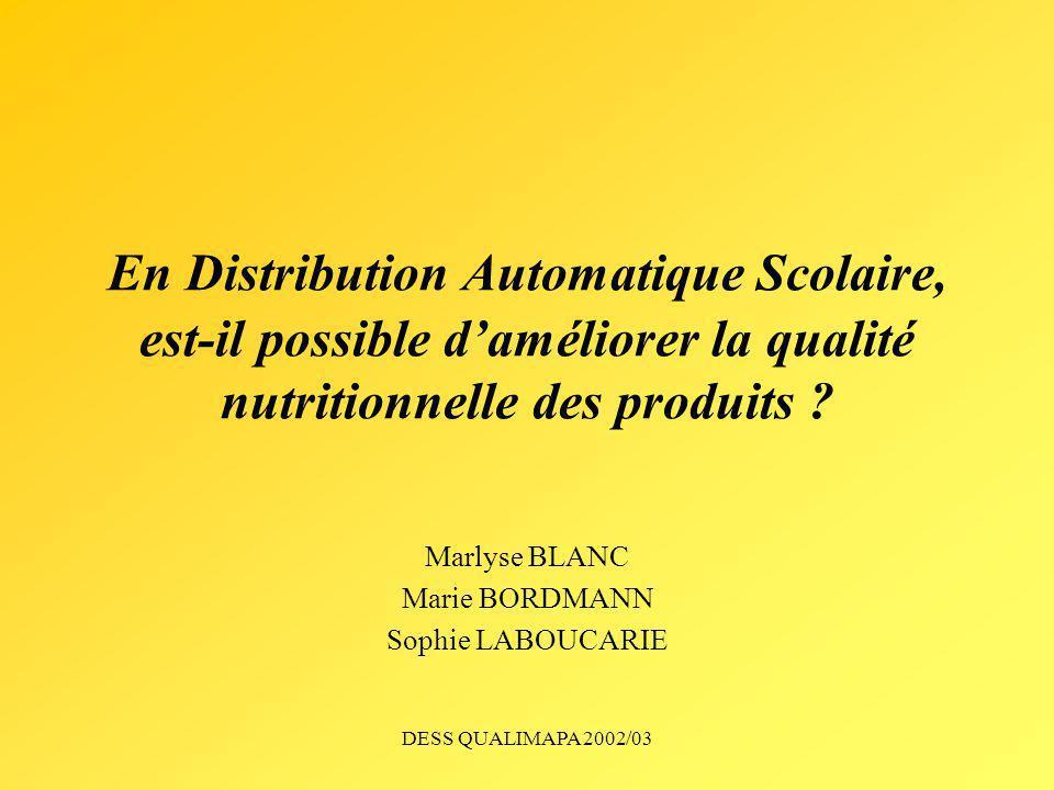 DESS QUALIMAPA 2002/03 En Distribution Automatique Scolaire, est-il possible daméliorer la qualité nutritionnelle des produits ? Marlyse BLANC Marie B