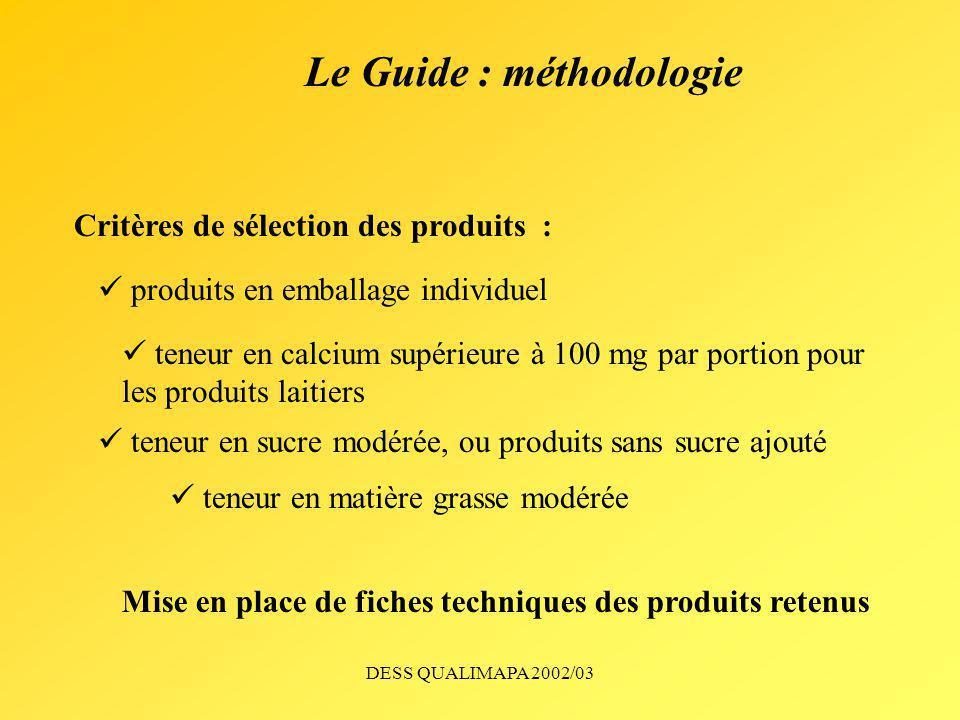 DESS QUALIMAPA 2002/03 Le Guide : méthodologie produits en emballage individuel teneur en calcium supérieure à 100 mg par portion pour les produits la