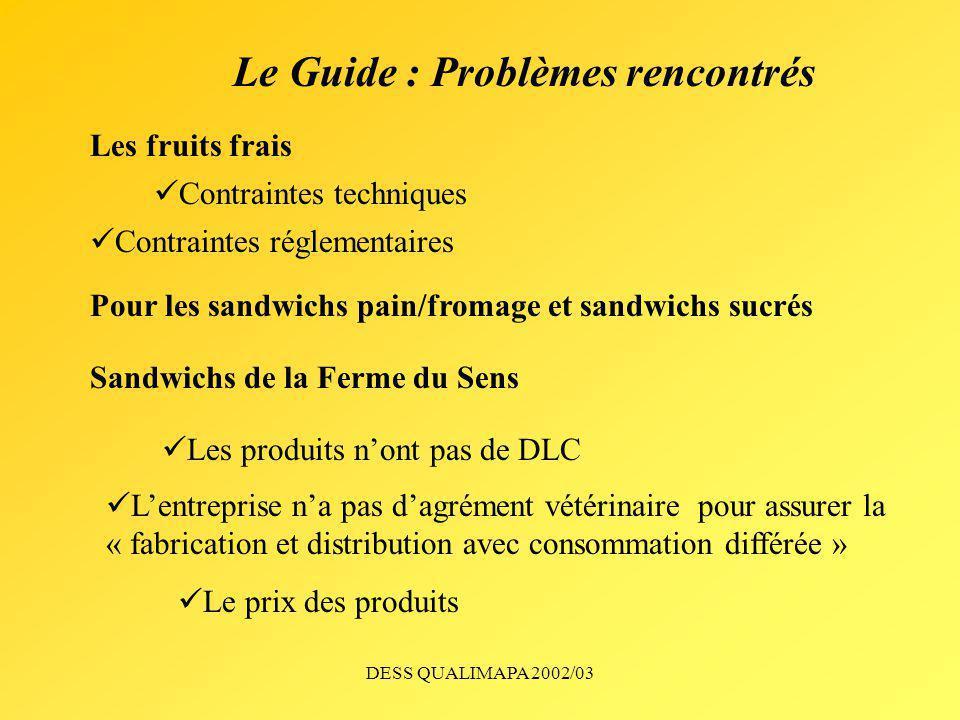 DESS QUALIMAPA 2002/03 Le Guide : Problèmes rencontrés Les fruits frais Pour les sandwichs pain/fromage et sandwichs sucrés Sandwichs de la Ferme du S