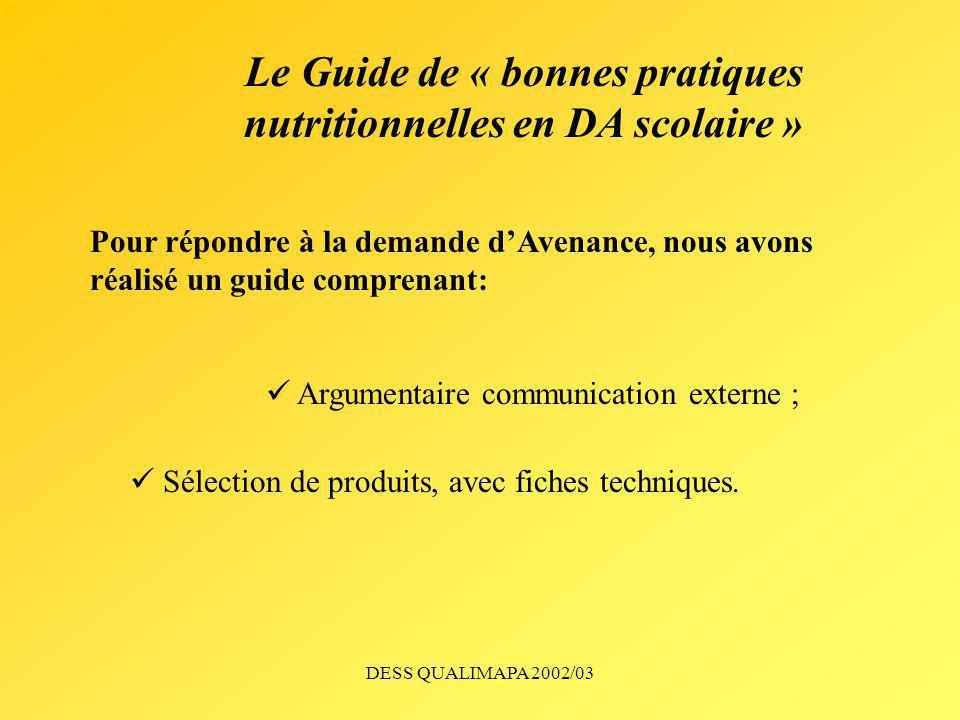 DESS QUALIMAPA 2002/03 Le Guide de « bonnes pratiques nutritionnelles en DA scolaire » Pour répondre à la demande dAvenance, nous avons réalisé un gui