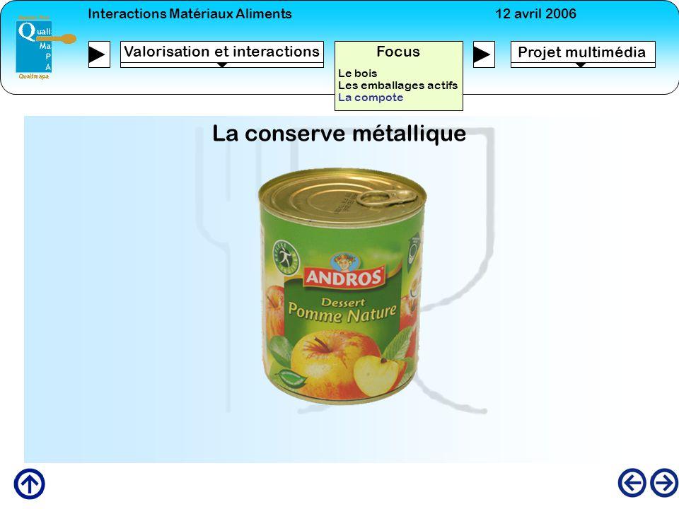 Interactions Matériaux Aliments12 avril 2006 Projet multimédia Valorisation et interactions Focus Le bois Les emballages actifs La compote La conserve
