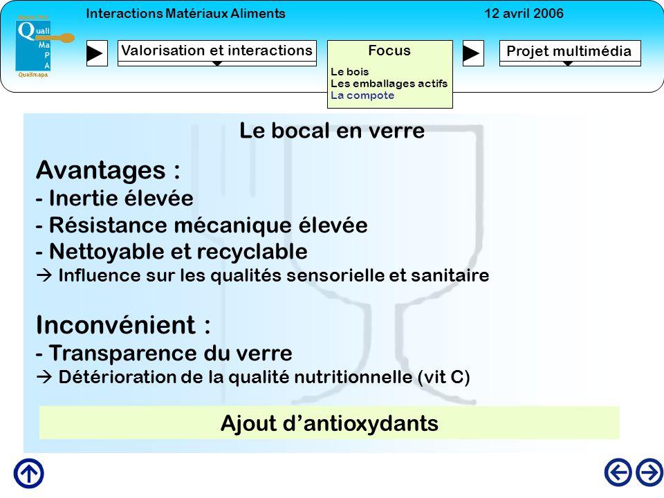 Interactions Matériaux Aliments12 avril 2006 Projet multimédia Valorisation et interactions Focus Le bois Les emballages actifs La compote Le bocal en