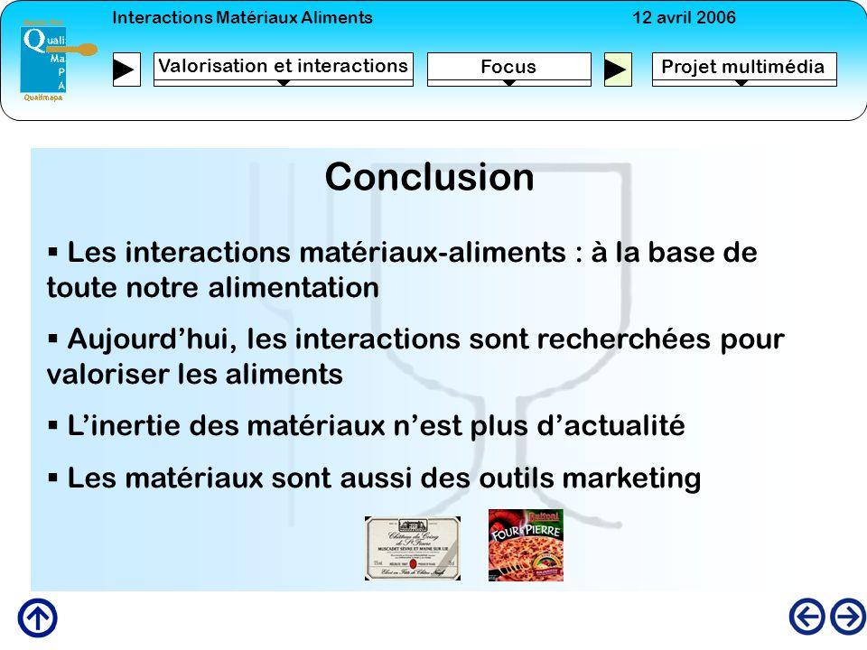 Interactions Matériaux Aliments12 avril 2006 FocusProjet multimédia Valorisation et interactions Conclusion Les interactions matériaux-aliments : à la