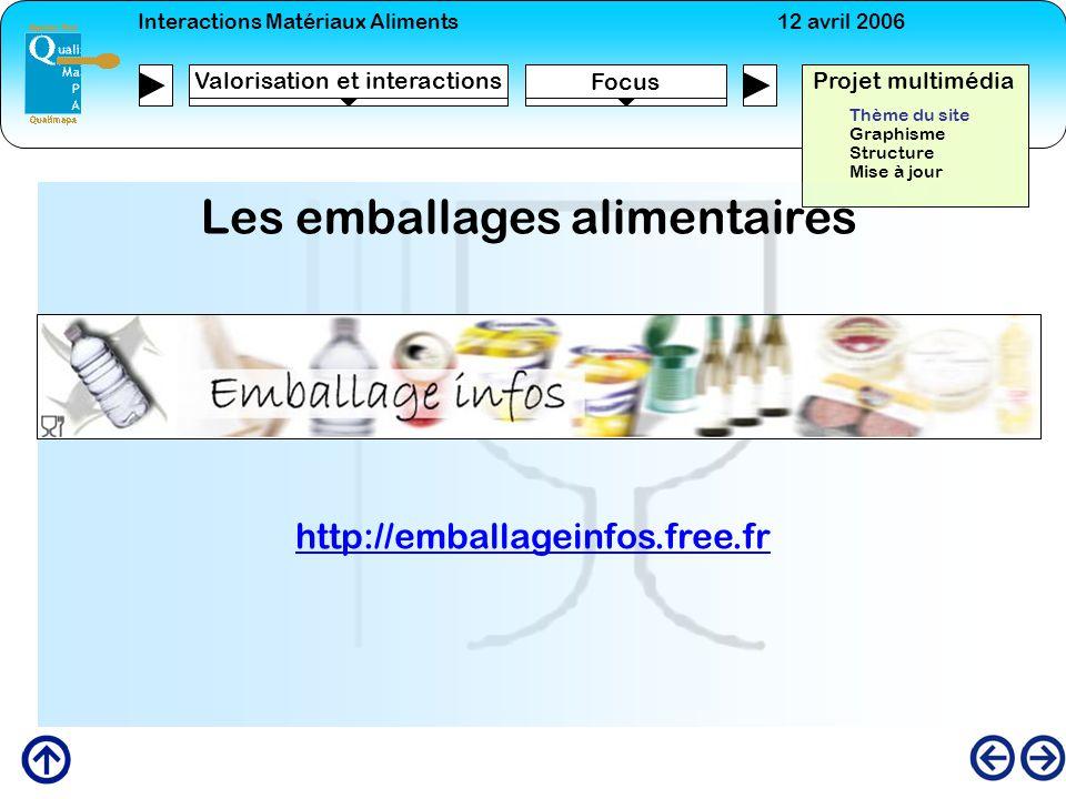 Interactions Matériaux Aliments12 avril 2006 Focus Projet multimédia Valorisation et interactions Thème du site Graphisme Structure Mise à jour Les em