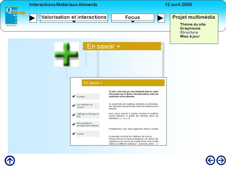Interactions Matériaux Aliments12 avril 2006 Focus Projet multimédia Valorisation et interactions Thème du site Graphisme Structure Mise à jour