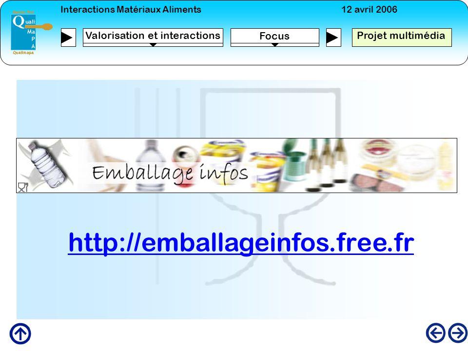 Interactions Matériaux Aliments12 avril 2006 Focus Projet multimédia Valorisation et interactions http://emballageinfos.free.fr