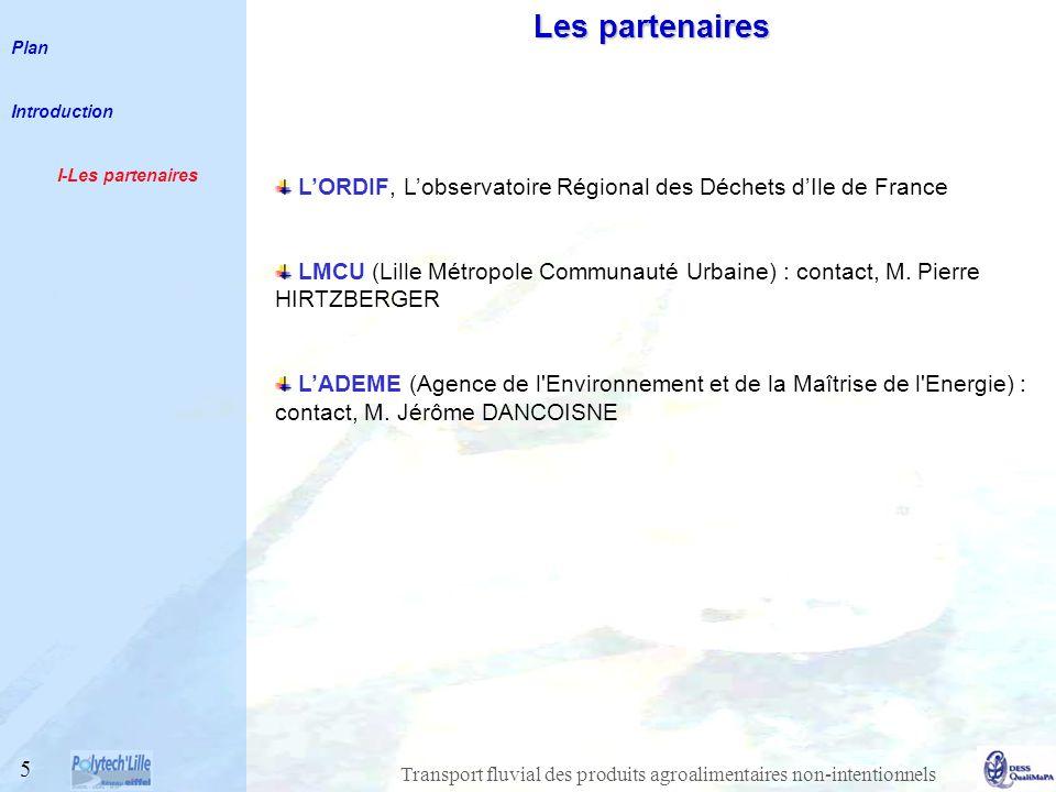 Transport fluvial des produits agroalimentaires non-intentionnels Les partenaires LORDIF, Lobservatoire Régional des Déchets dIle de France LMCU (Lille Métropole Communauté Urbaine) : contact, M.