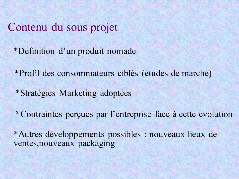 Contenu du sous projet *Définition dun produit nomade *Profil des consommateurs ciblés (études de marché) *Stratégies Marketing adoptées *Contraintes