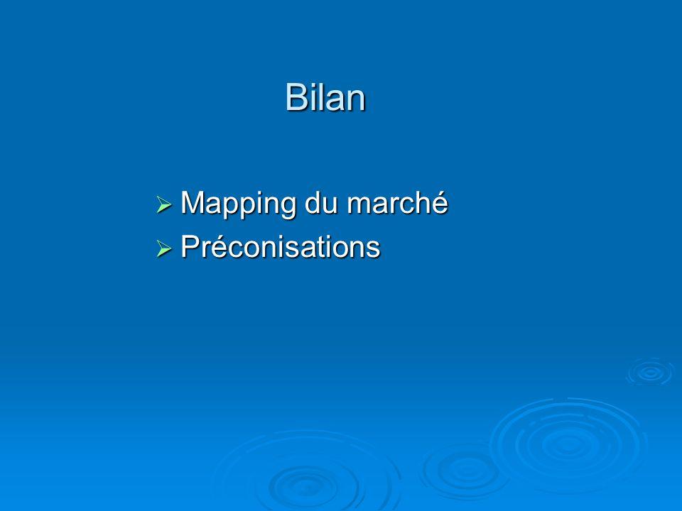 Bilan Mapping du marché Mapping du marché Préconisations Préconisations