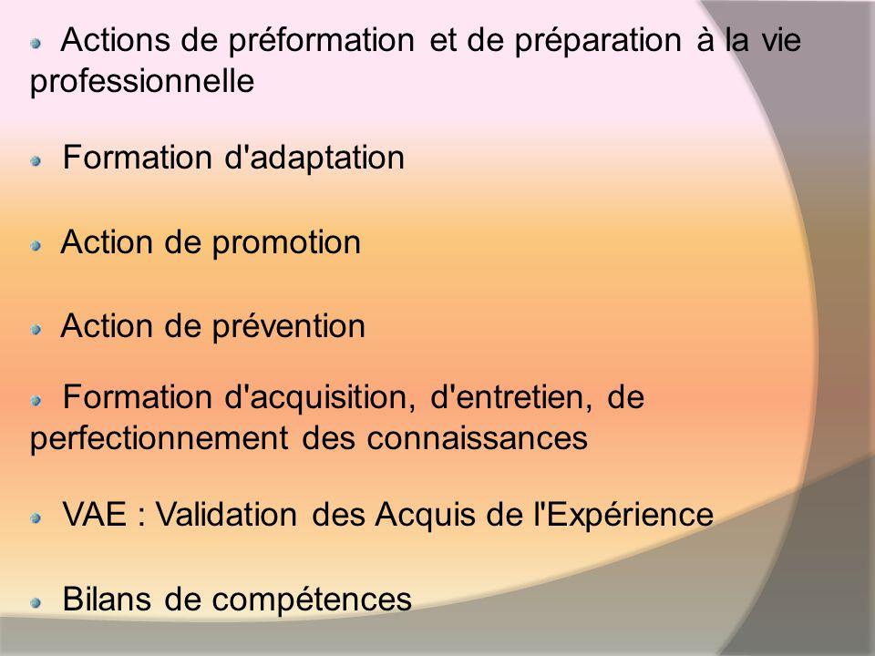 Actions de préformation et de préparation à la vie professionnelle Formation d adaptation Action de promotion Action de prévention Formation d acquisition, d entretien, de perfectionnement des connaissances VAE : Validation des Acquis de l Expérience Bilans de compétences