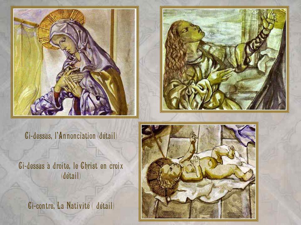Ci-contre, à gauche le Christ en croix. Ci-contre, à droite la Résurrection.