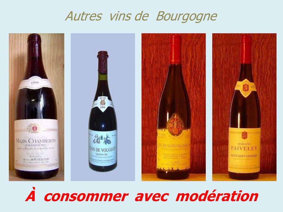 Quelques vins de la Bourgogne À consommer avec modération