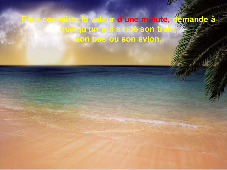 Pour connaître la valeur dune heure, demande à un couple damoureux qui attend impatiemment de se revoir.
