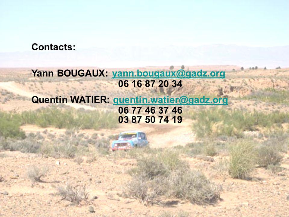 Contacts: Yann BOUGAUX: yann.bougaux@gadz.orgyann.bougaux@gadz.org 06 16 87 20 34 Quentin WATIER: quentin.watier@gadz.orgquentin.watier@gadz.org 06 77 46 37 46 03 87 50 74 19