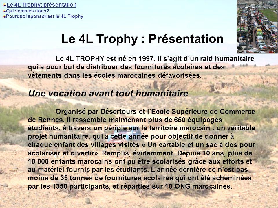 Le 4L Trophy : Présentation Le 4L TROPHY est né en 1997.