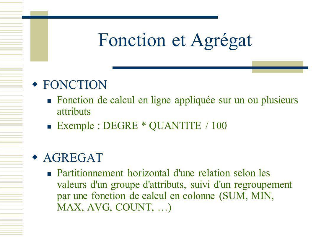 Fonction et Agrégat FONCTION Fonction de calcul en ligne appliquée sur un ou plusieurs attributs Exemple : DEGRE * QUANTITE / 100 AGREGAT Partitionnem