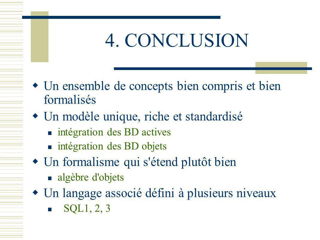 4. CONCLUSION Un ensemble de concepts bien compris et bien formalisés Un modèle unique, riche et standardisé intégration des BD actives intégration de