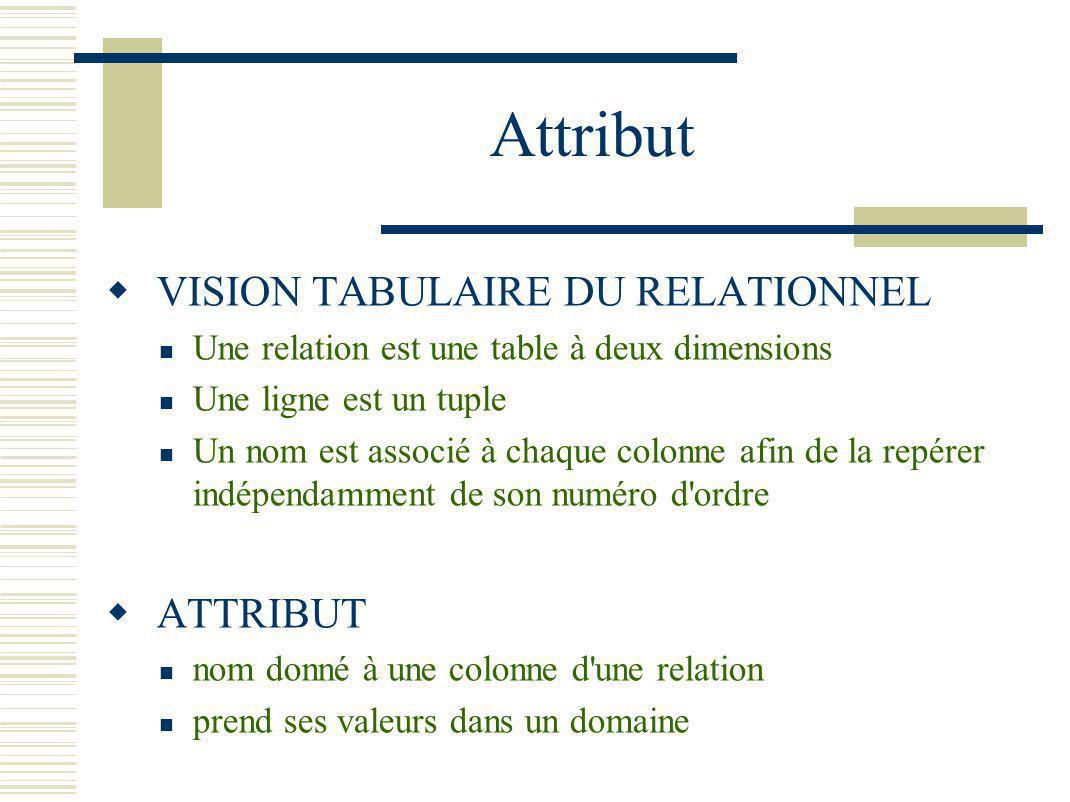 Attribut VISION TABULAIRE DU RELATIONNEL Une relation est une table à deux dimensions Une ligne est un tuple Un nom est associé à chaque colonne afin
