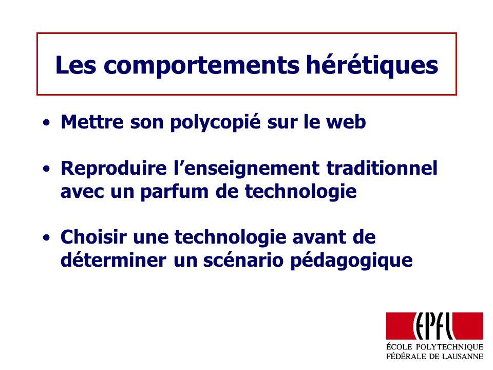 Les comportements hérétiques Mettre son polycopié sur le web Reproduire lenseignement traditionnel avec un parfum de technologie Choisir une technolog