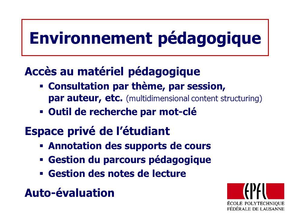 Environnement pédagogique Accès au matériel pédagogique Consultation par thème, par session, par auteur, etc. (multidimensional content structuring) O