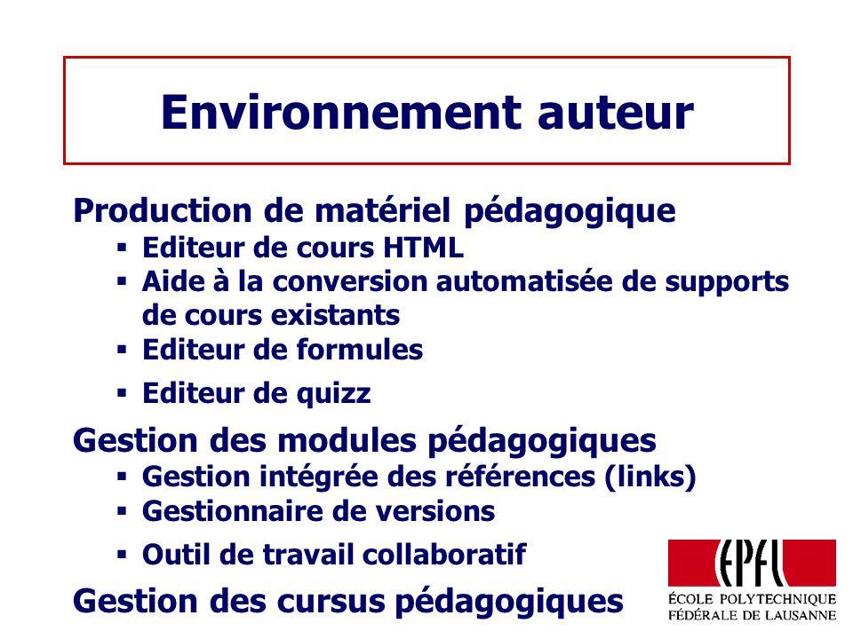 Environnement auteur Production de matériel pédagogique Editeur de cours HTML Aide à la conversion automatisée de supports de cours existants Editeur