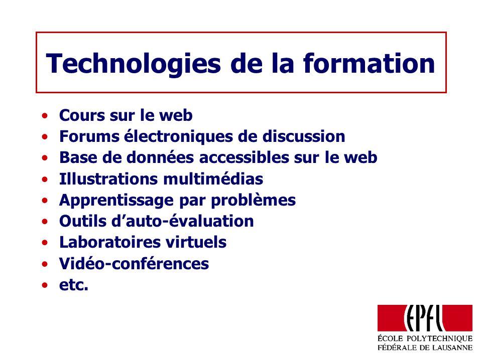 Technologies de la formation Cours sur le web Forums électroniques de discussion Base de données accessibles sur le web Illustrations multimédias Apprentissage par problèmes Outils dauto-évaluation Laboratoires virtuels Vidéo-conférences etc.