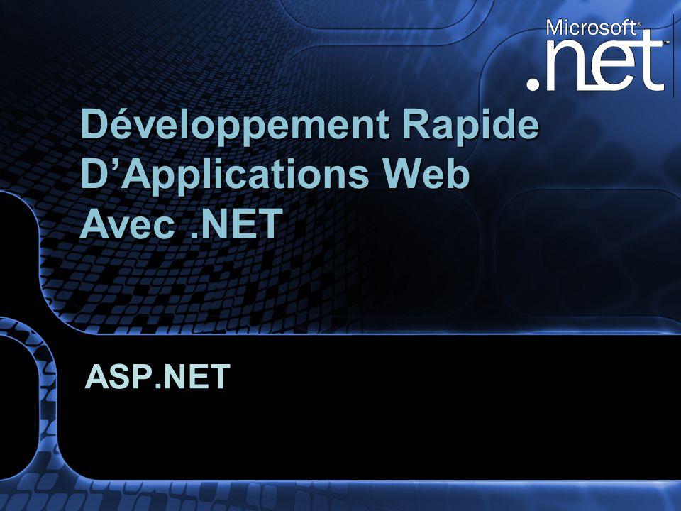 ASP.NET Développement Rapide DApplications Web Avec.NET