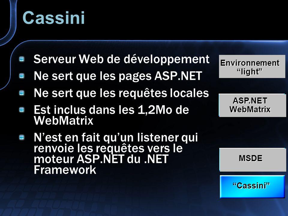 Cassini Serveur Web de développement Ne sert que les pages ASP.NET Ne sert que les requêtes locales Est inclus dans les 1,2Mo de WebMatrix Nest en fai