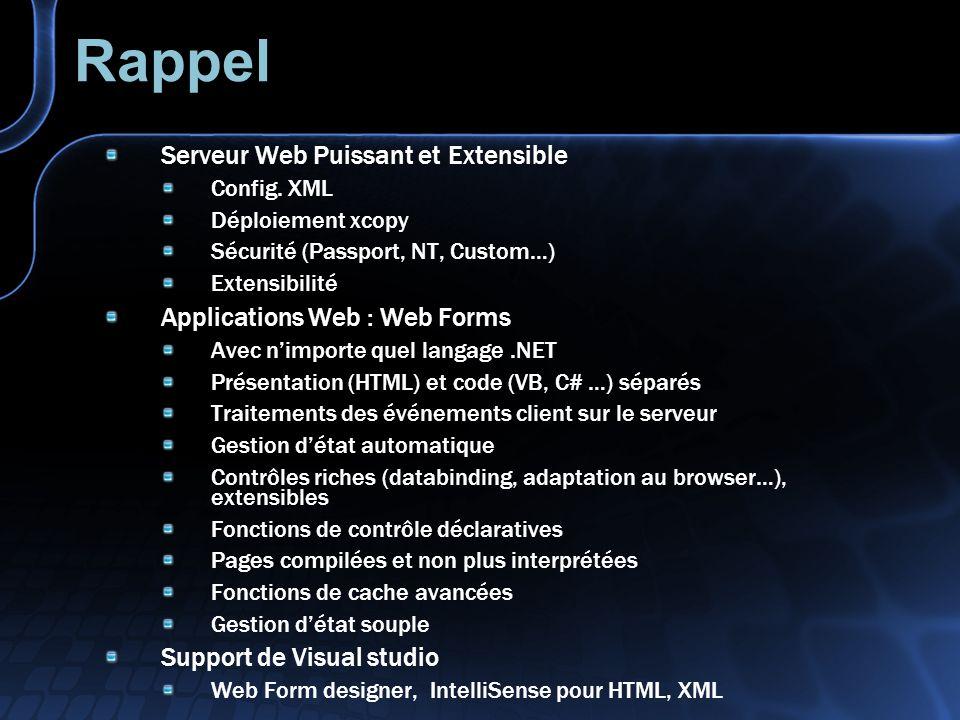 ASP.NET, en somme… Avancées technologiques majeures Développement : Contrôles graphiques générant le HTML (flux aspx) Programmation événementielle pour le Web Choix du langage de développement Simplicité de création des services Web XML Exécution : Code compilé Gestion avancée du cache en sortie Déploiement par simple copie Gestion erreurs, sécurité, intégrés à la plate-forme