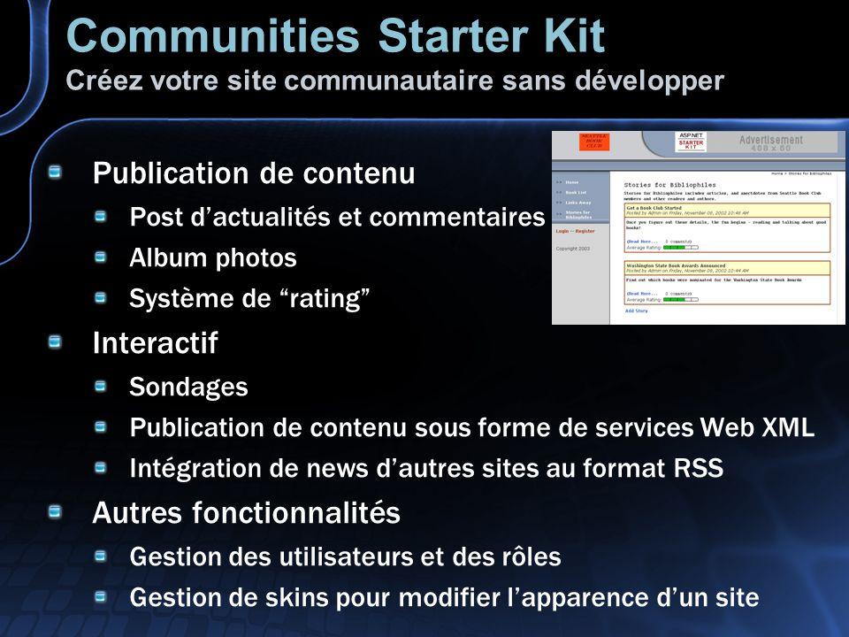 Communities Starter Kit Créez votre site communautaire sans développer Publication de contenu Post dactualités et commentaires Album photos Système de