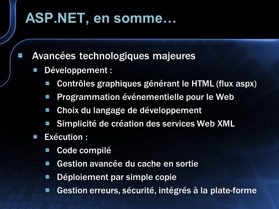 ASP.NET, en somme… Avancées technologiques majeures Développement : Contrôles graphiques générant le HTML (flux aspx) Programmation événementielle pou