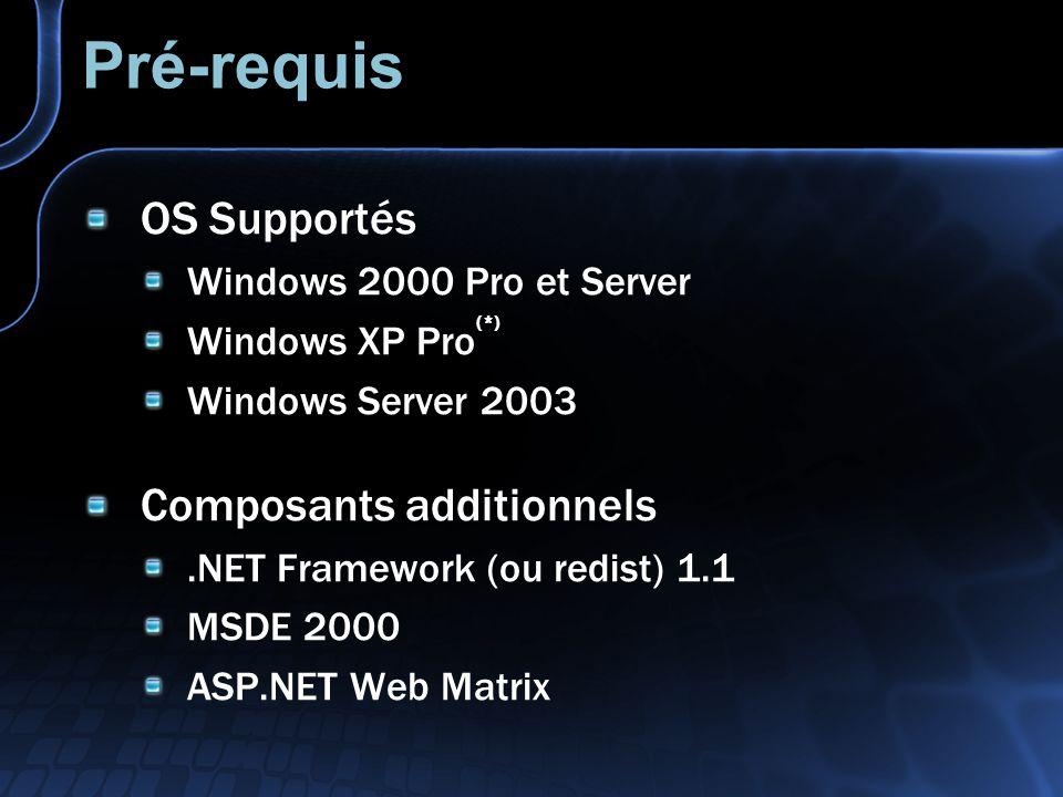 Pré-requis OS Supportés Windows 2000 Pro et Server Windows XP Pro (*) Windows Server 2003 Composants additionnels.NET Framework (ou redist) 1.1 MSDE 2