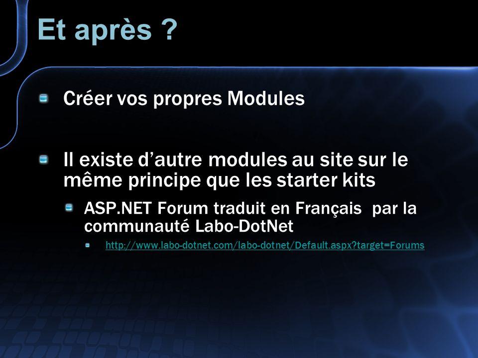 Et après ? Créer vos propres Modules Il existe dautre modules au site sur le même principe que les starter kits ASP.NET Forum traduit en Français par
