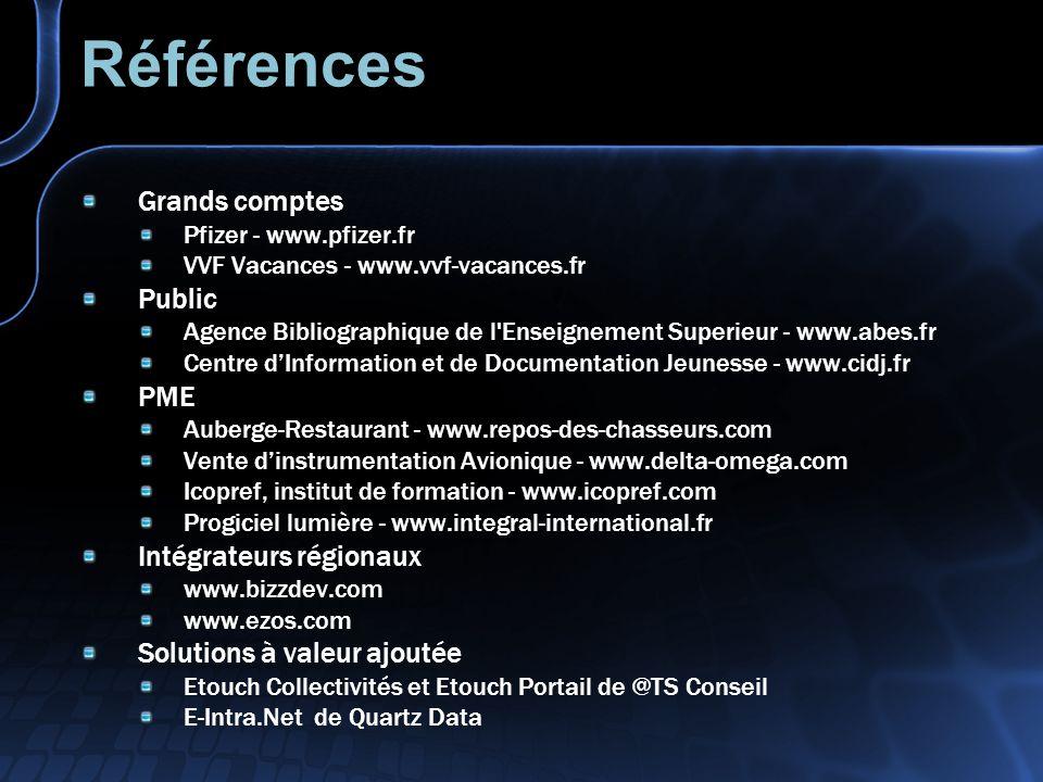 Références Grands comptes Pfizer - www.pfizer.fr VVF Vacances - www.vvf-vacances.fr Public Agence Bibliographique de l'Enseignement Superieur - www.ab